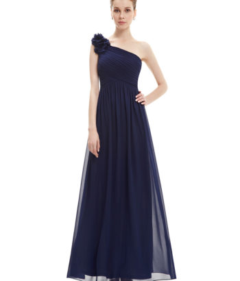 2017 One Shoulder Long flowers Navy Bridesmaid Dress
