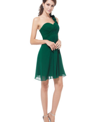 2017 Summer Short One Shoulder Flowers Forest Green Bridesmaid Dress
