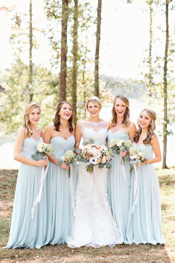 2017 pale blue bridesmaid dresses wildflowers