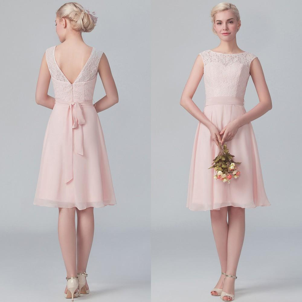 Ankle Length Blush Pink Bridsmaid Dress