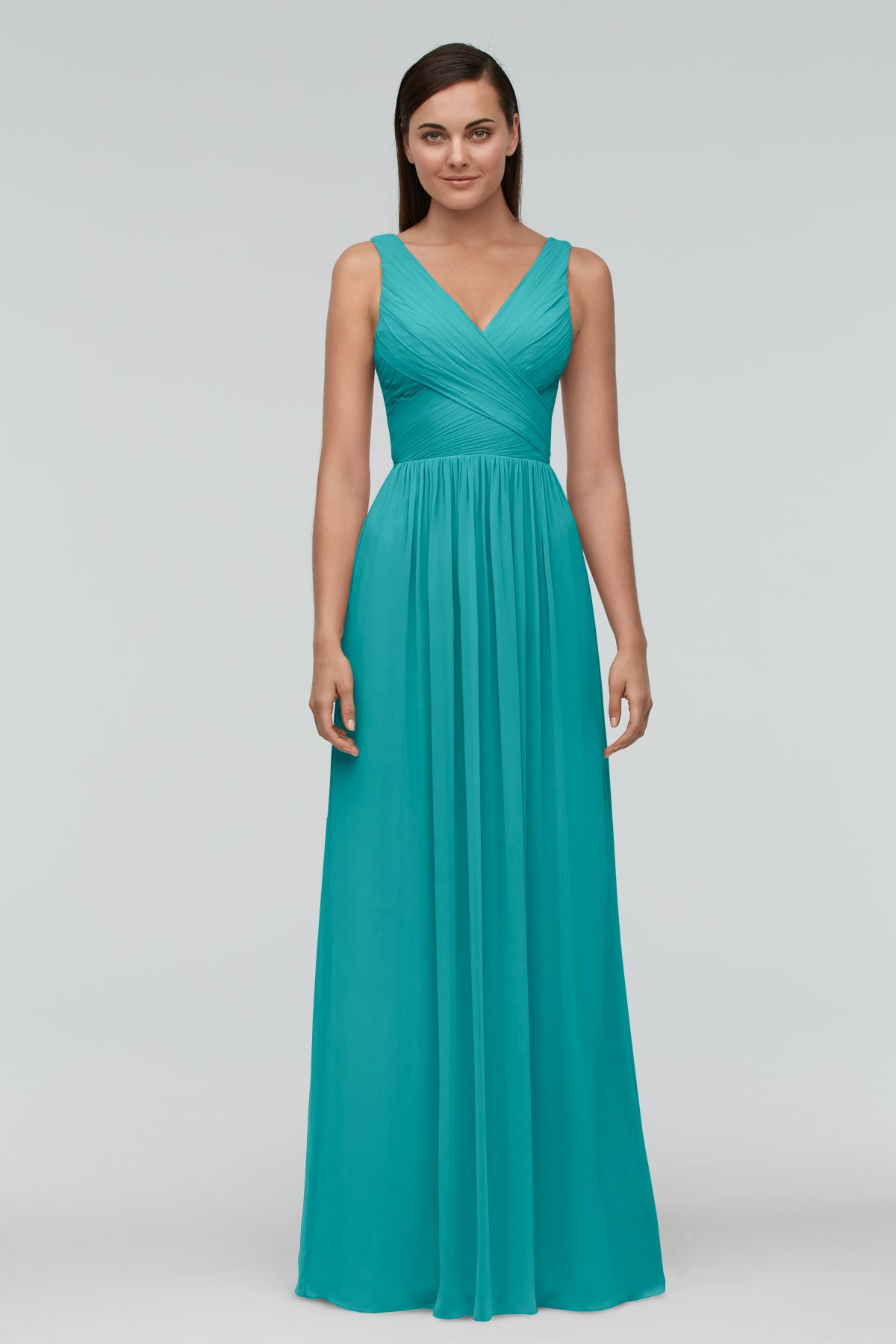 Aqua Green Long Deep V Bridesmaid Dress