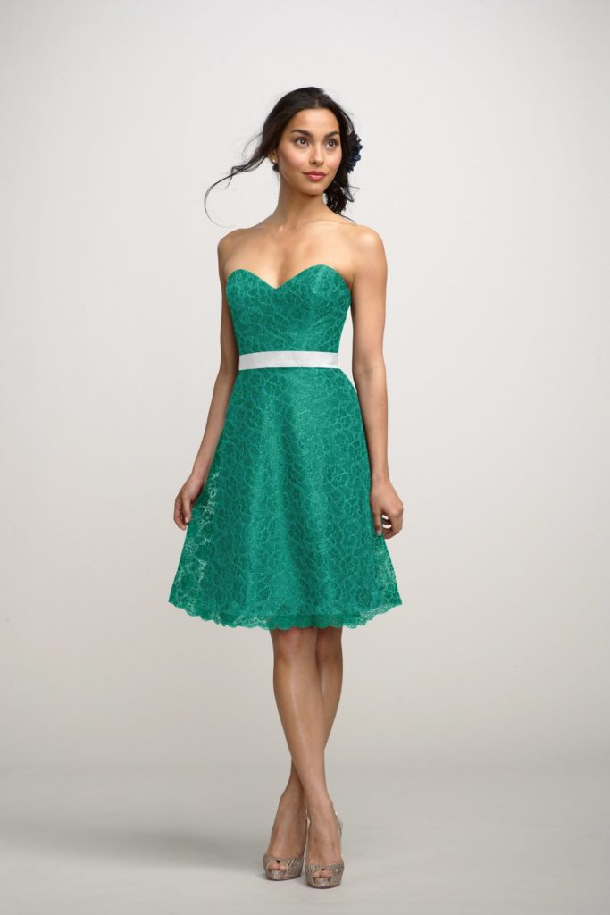 Aqua Green Short Sweetheart bridesmaid dress with belt