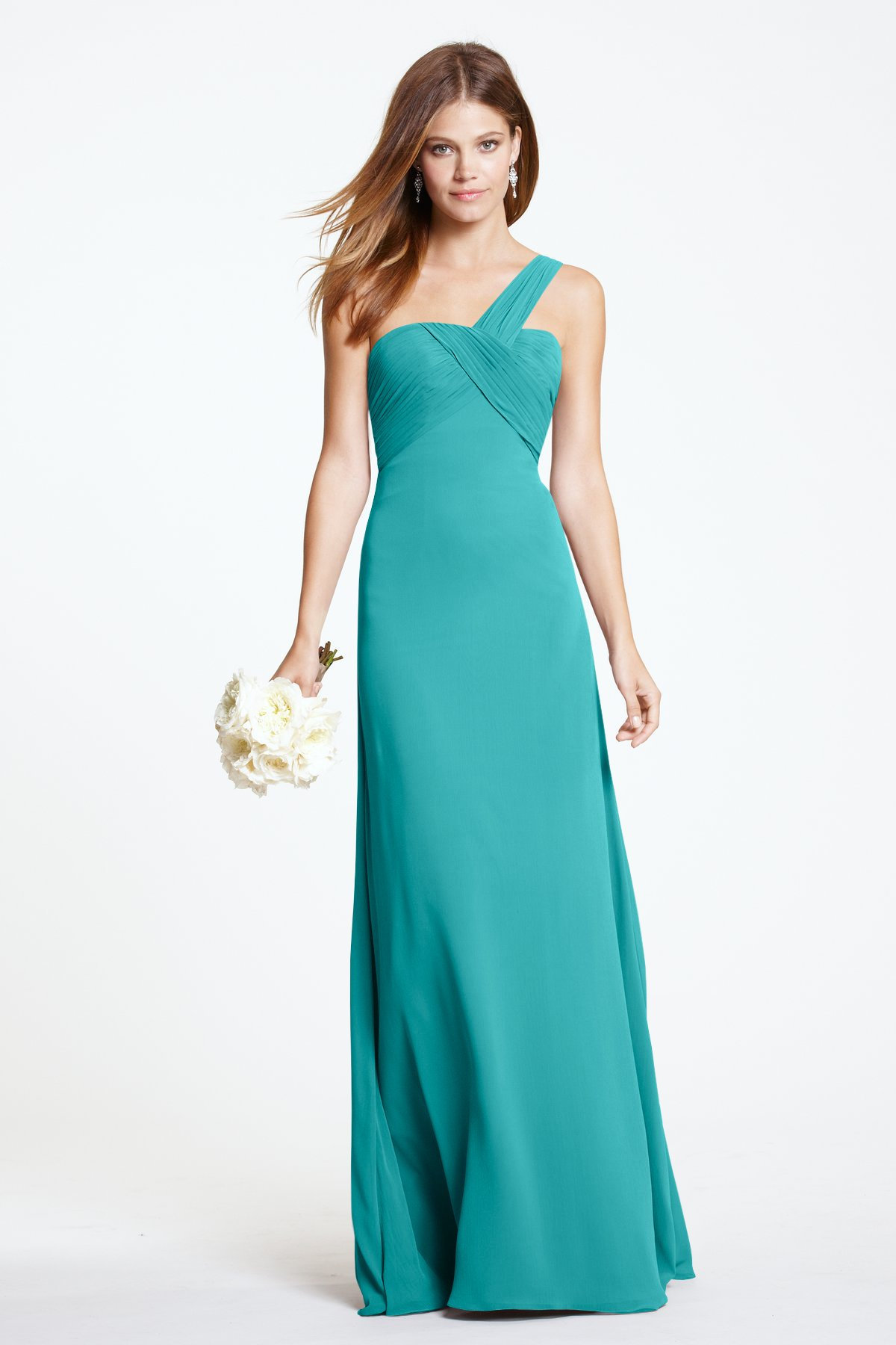 Aqua Long One Shoulder Simple Bridesmaid dress