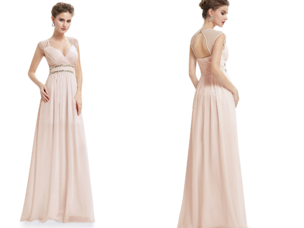 Beige Elegant V-neck Bridesmaid Dress