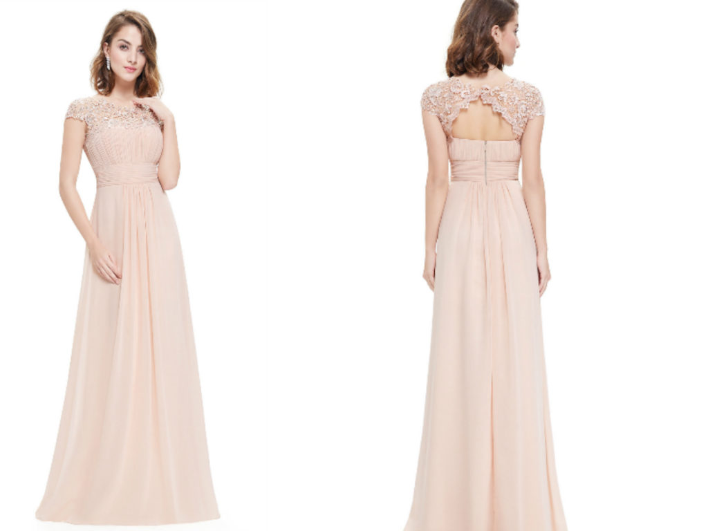 Beige Rose Pink Lacey Neckline Bridesmaid Dress