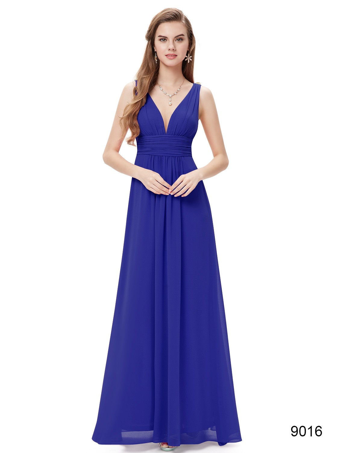 Blue Double V Elegant Chiffon Bridesmaid Dress
