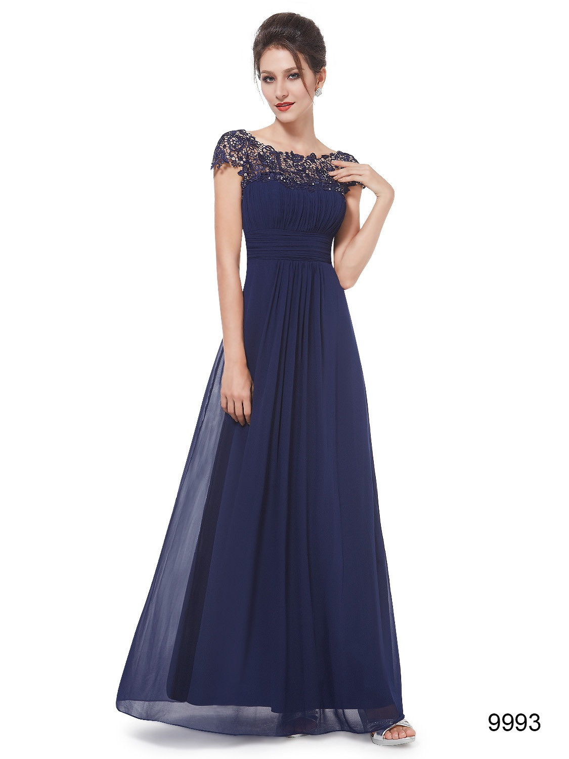 Blue Lacey Neckline Open Back Ruched Bust Bridesmaid Dress