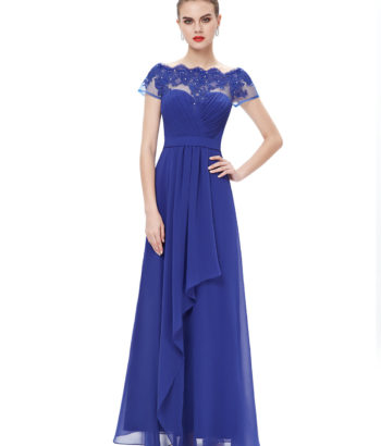Boat Neck Sheer Lace Top Bridesmaid Dress Royal Blue