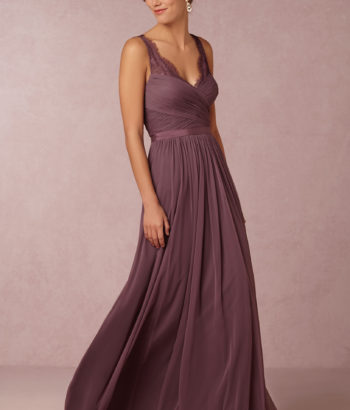 Chiffon Purple elegant long bridesmaid dress