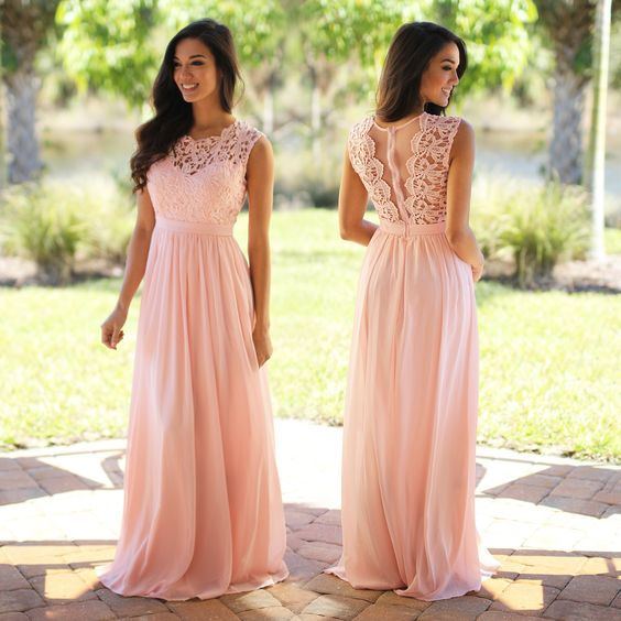 Custom long chiffon pink see though Bridesmaid Dress