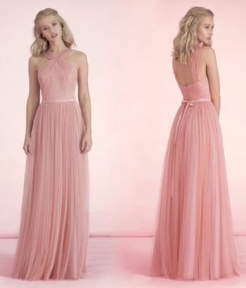 Cute Long Soft Pink Bridesmaid Dress