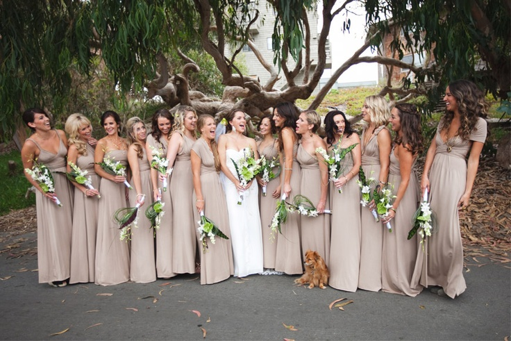 Real Bridesmaids In Beige Bridesmaid Dresses: Dark Beige Bridesmaid Dresses UK