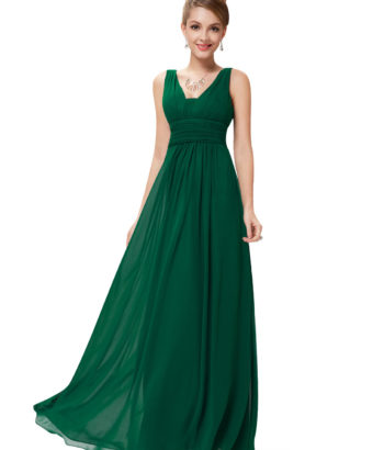 Deep V blong Bridesmaid Dress Forest Green