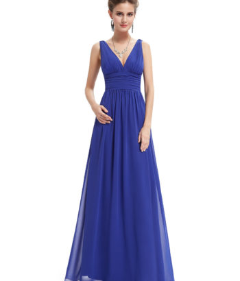 Elegant Double V Neck Blue Bridesmaid Dress