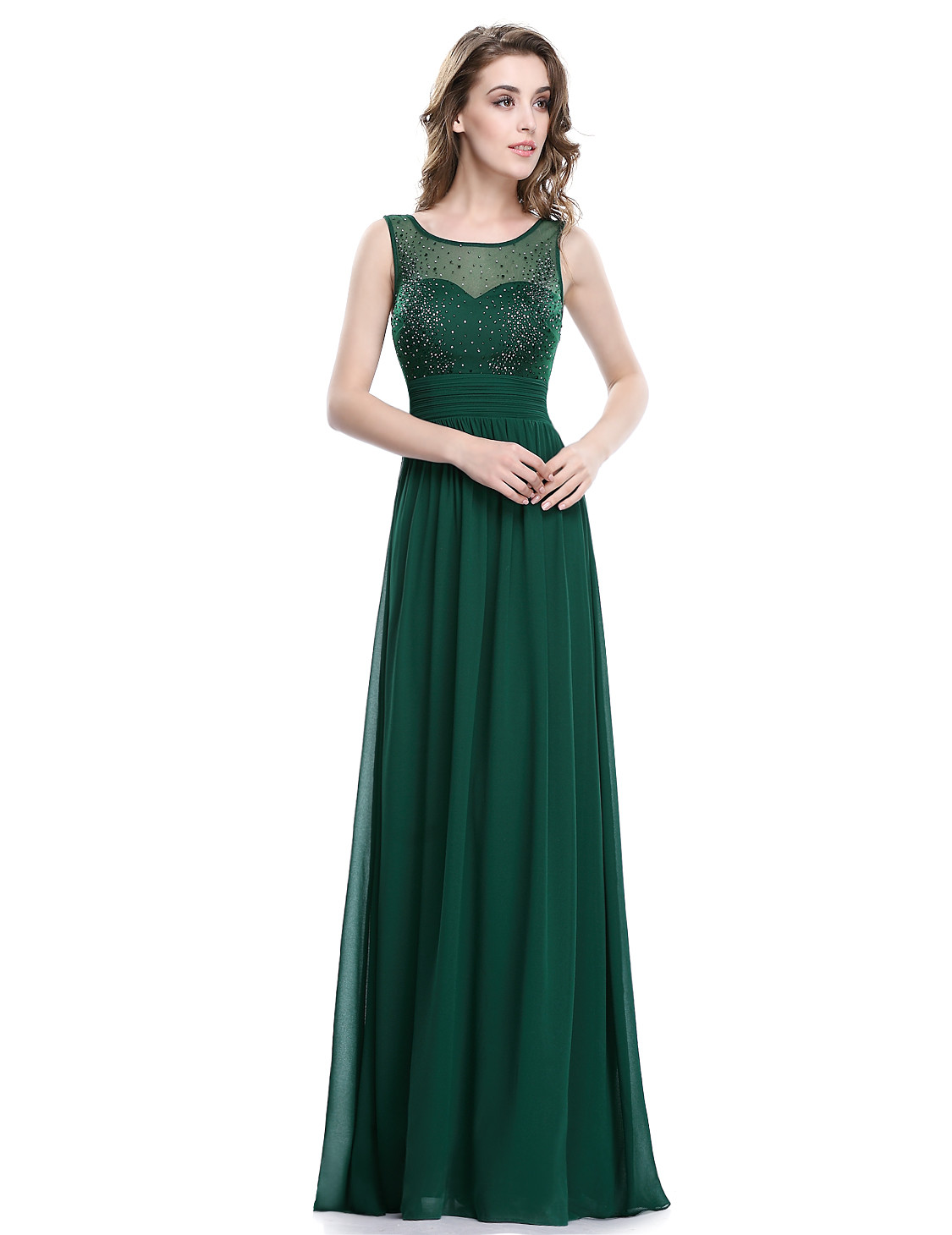 Elegant Forest Green Sparkle Bust Bridesmaid Dress