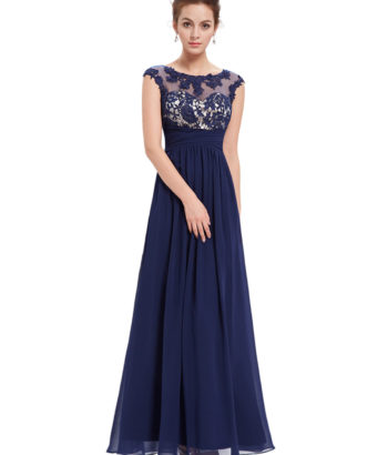 Elegant Lacy Bridesmaid Dress Navy