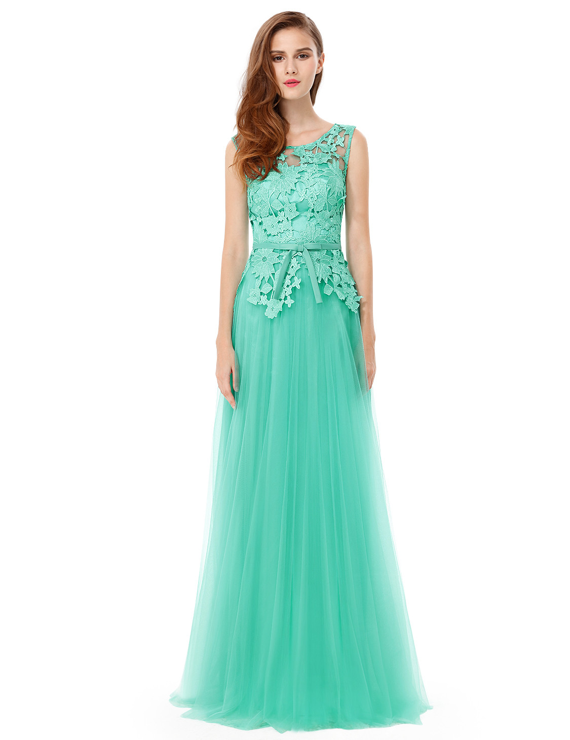 Elegant Light Green Round Neck Bridesmaids Dress