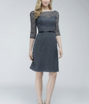 Elegant Sleeves Knee Length Open-Back-Grey-Lace-Modest Bridesmaid Dresses With Sleeves