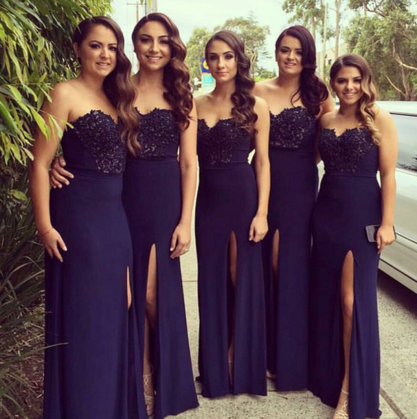 Elegant sweetheart long navy blue chiffon bridesmaid dress with ruffles and flowers