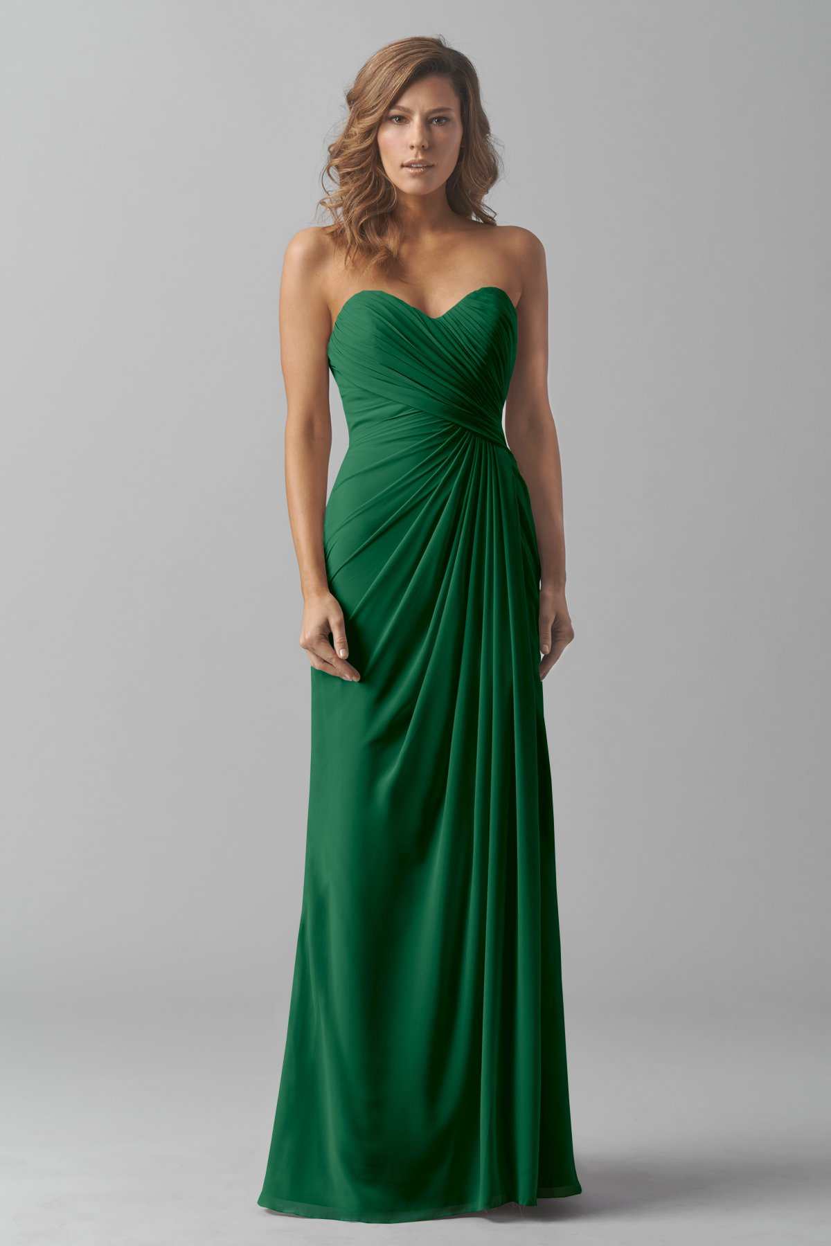 Emerald Green Seath Long Sweetheart Bridesmaid Dress