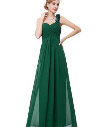 Flowers Forest Green One Shoulder Bridesmaid Dress