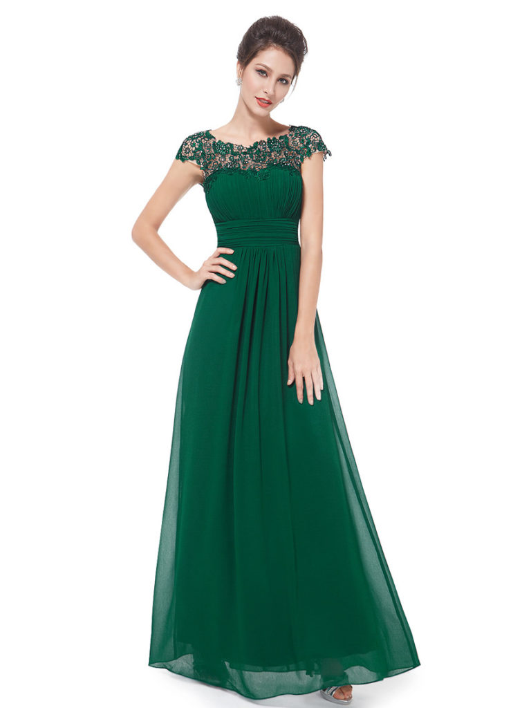 Forest Green Lacey Neckline Ruched Bust Bridesmaid Dress