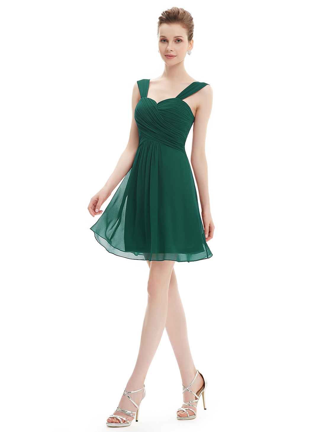Forest Green Short Ruffles Chiffon Bridesmaids Dress