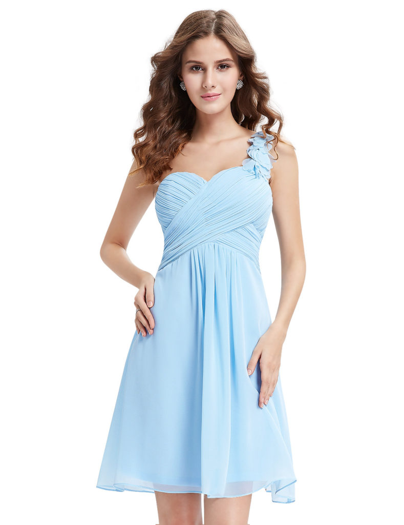 Gorgeous baby blue One shoulder bridesmaid dress