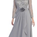 Gray plus size mother of the bride dresses V neck