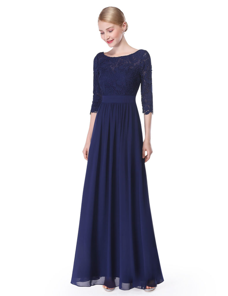 Half Sleeve Navy Blue Bridesmaid Dress 2017
