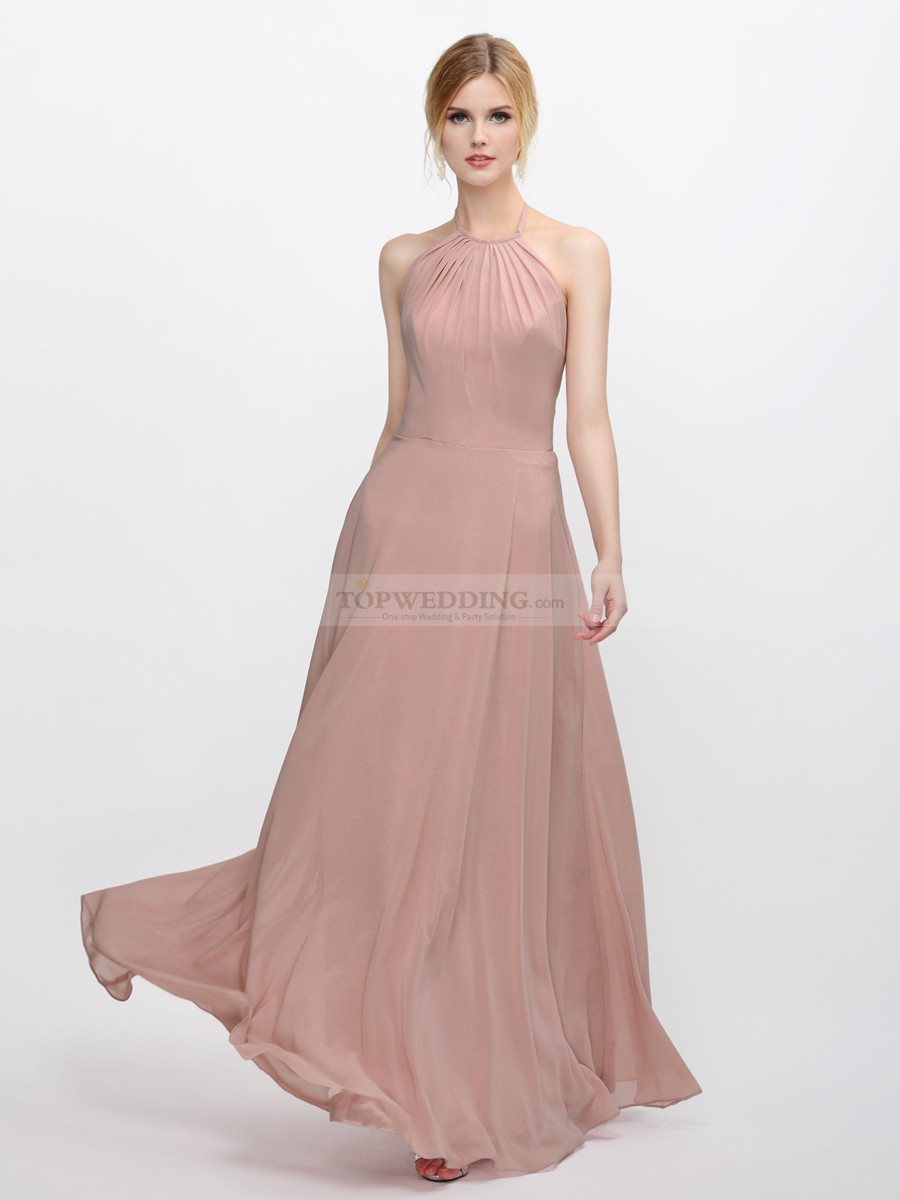 Halter Blush Pink Bridesmaid Dress