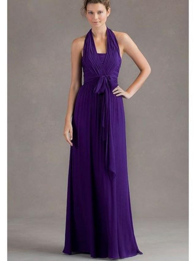 Halter purple bridesmaid dresses