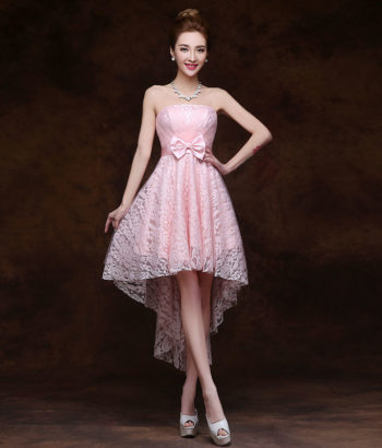 High Low Blush Pink Bridsmaid Dress