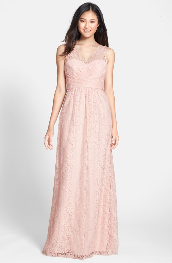 Illusion V-neck Charming Lace A-line Long Coral Bridesmaid Dress
