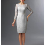 Lace gray bridesmaid dresses with sleeves