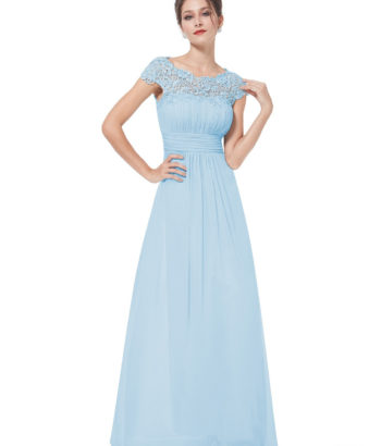 Long Baby Blue Lacey Bridesmaid Dress
