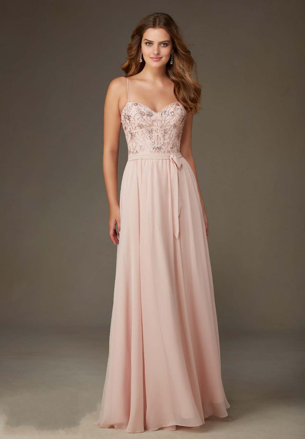 Long Blush Pink Bridesmaid Dress