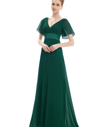 Long Green Double V-Neck Ruffles Bridesmaid Dress