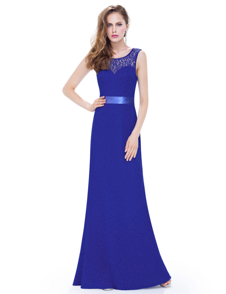 Long Royal Blue Sleeveless Lace Bridesmaid Dress