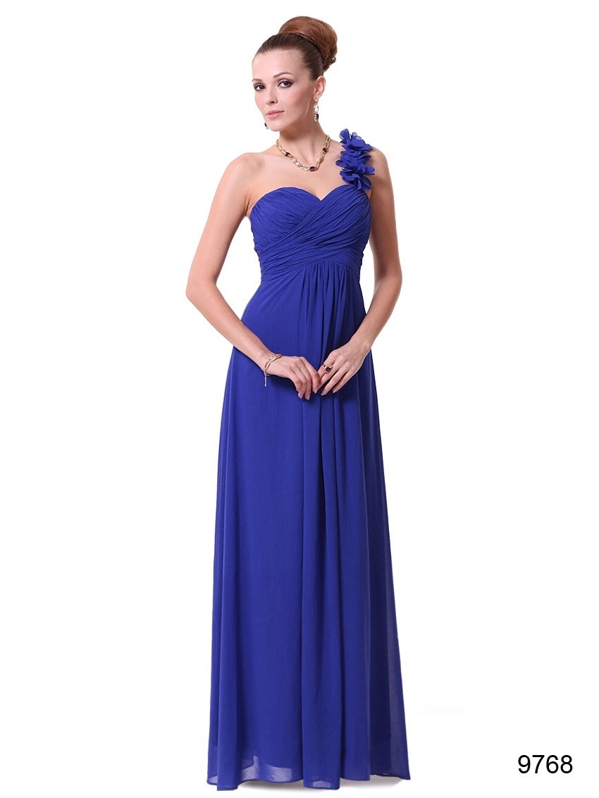 Long Sapphire Blue Flowers One Shoulder Chiffon Bridesmaid Dress