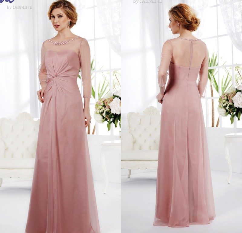 Long Sleeve Blush Pink Bridesmaid Dress