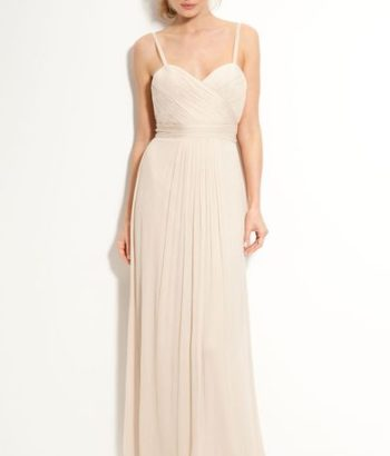 Long beige bridesmaid dresses beach