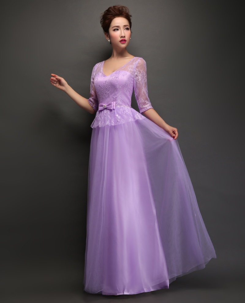 Long half sleeve purple bridesmaid dresses uk