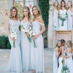 Long light sky blue bridesmaid dresses