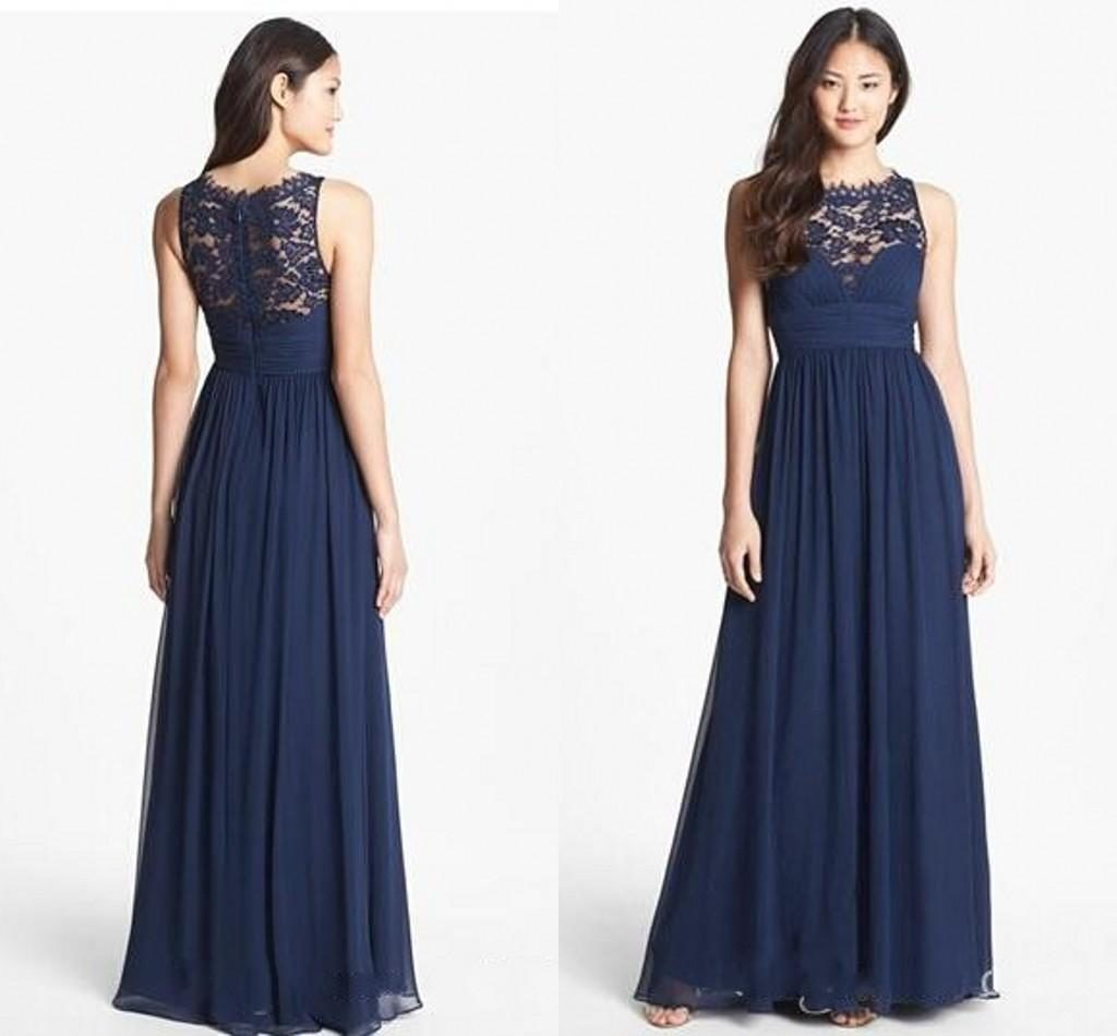 Long navy blue lace bridesmaid dresses