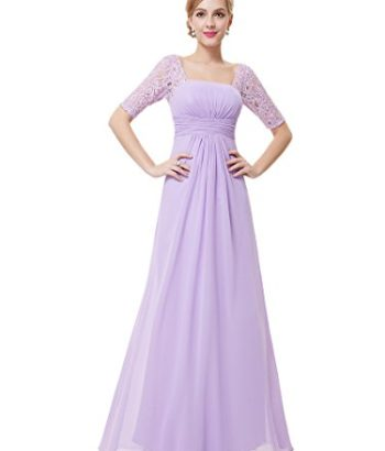Long purplue bridesmaid dresses with lace sleeves