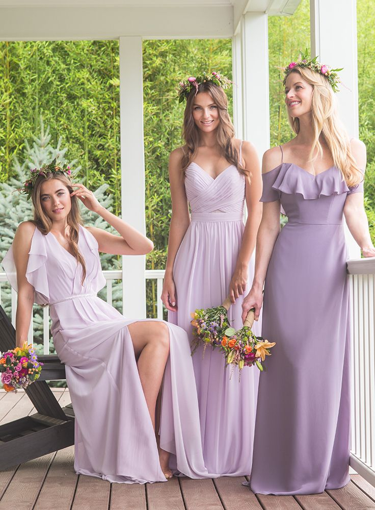 Long soft purple pretty bridesmaids dresses