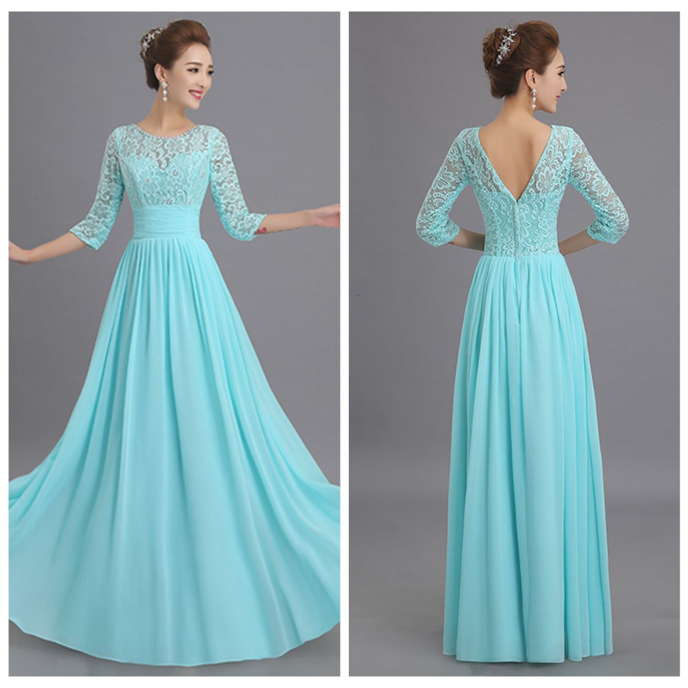 Long tiffany blue bridesmaid dresses with Long sleeves