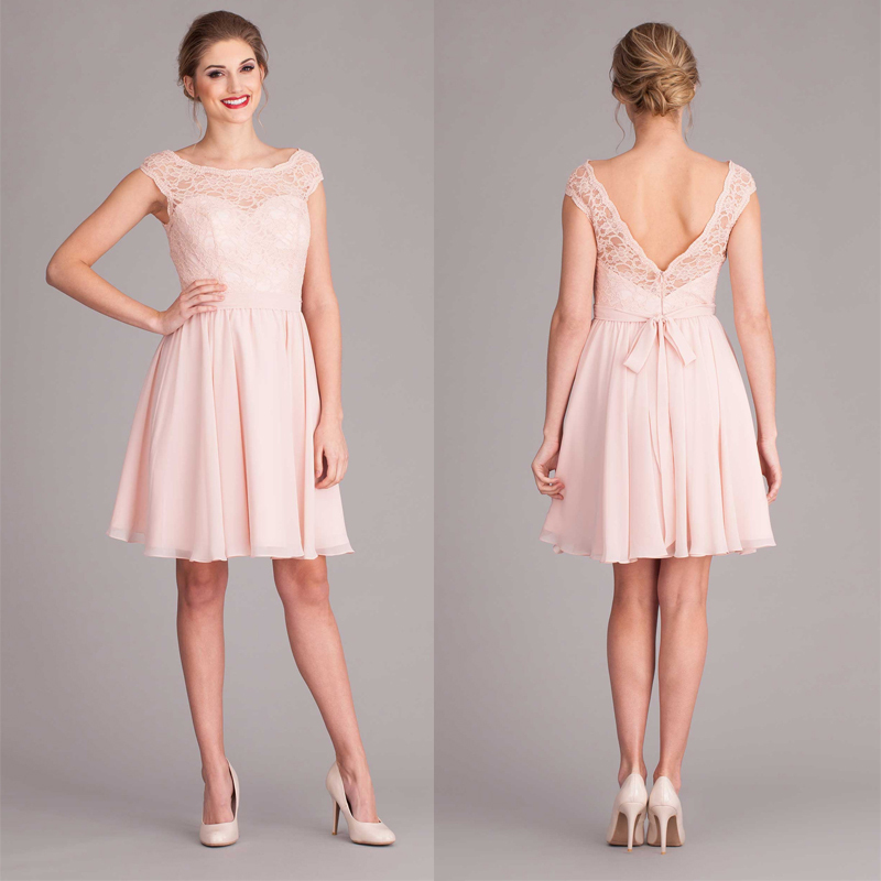 Low Back Blush Pink Bridsmaid Dress