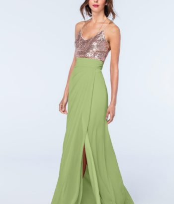 Midori Green Long Bridesmaid Dress with V neck up beading